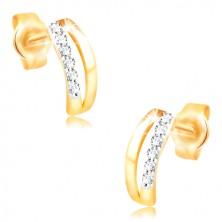 Náušnice ve 14K zlatě - dva úzké oblouky, pás drobných zirkonů
