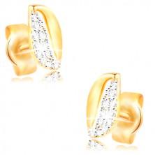 Zlaté 14K náušnice - dvoubarevné zvlněné zrnko se zirkony a výřezem