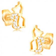 Náušnice ze žlutého 14K zlata - lesklý obrys kočky se zirkonovým ocáskem