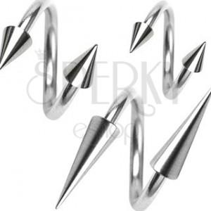 Piercing z chirurgické oceli, spirálka s hrotem