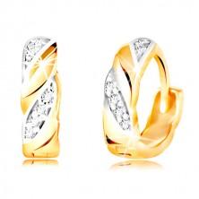 Zlaté kruhové náušnice 585 - šikmé dvoubarevné linie, čiré zirkony