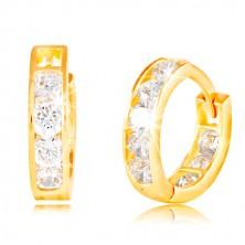 Kloubové náušnice ve žlutém 14K zlatě - kruhové, vsazené blýskavé čiré zirkony