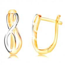 Zlaté náušnice 585 - tenké propletené vlnky ze žlutého a bílého zlata