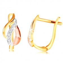 Zlaté 14K náušnice - list z oblouků ve třech odstínech zlata, čiré zirkony
