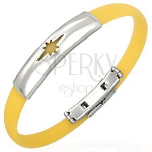 Gumový náramek, motiv hvězdy - žlutý