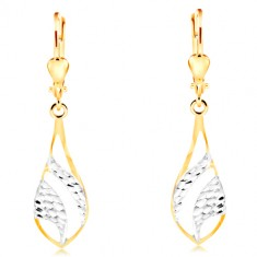 Náušnice ze 14K zlata - velká lesklá slza, gravírované oblouky z bílého zlata GG211.62