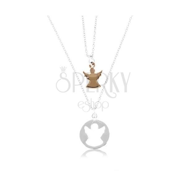 22d4b1e4d Dva náhrdelníky ze stříbra 925 - kruh s výřezem ve tvaru anděla a andílek  měděné barvy ...