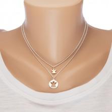 Dva náhrdelníky ze stříbra 925 - kruh s výřezem ve tvaru anděla a andílek měděné barvy