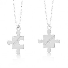 Stříbrné náhrdelníky 925 - dílky puzzle s nápisy Mom a Daughter da9b16278bb