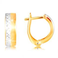 Náušnice ze 14K zlata - hladký matný pás žluté barvy, broušená linie z bílého zlata GG217.12