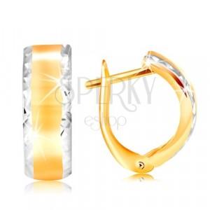 Náušnice ze 14K zlata - lesklý oblouk s broušenými okraji z bílého zlata