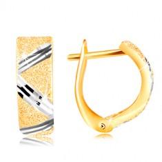 Zlaté 14K náušnice - třpytivý pískovaný povrch s cik-cak linií z bílého zlata GG217.03