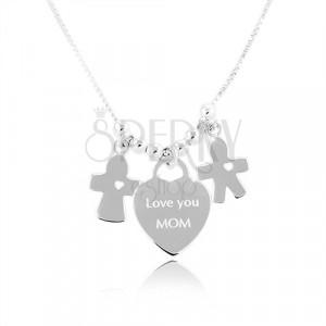 Stříbrný náhrdelník 925, srdce s nápisem Love you MOM, chlapeček a děvčátko
