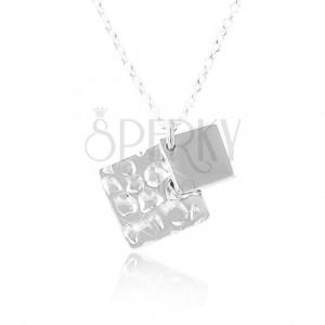 Stříbrný náhrdelník 925, dva kosočtverce, řetízek z oválných oček