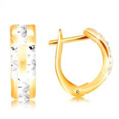 Náušnice ze 14K zlata - matný oblouk s blýskavými liniemi z bílého zlata GG217.08