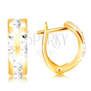Náušnice ze 14K zlata - matný oblouk s blýskavými liniemi z bílého zlata