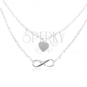 Náhrdelník ze stříbra 925, dvojitý řetízek, srdce a symbol nekonečna