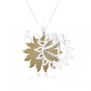Stříbrný 925 náhrdelník, vyřezávané slunce ve dvoubarevné kombinaci