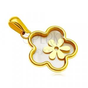 Přívěsek ze žlutého 14K zlata - květ s výplní z perleti a s menším kvítkem