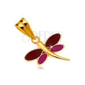 Přívěsek ve žlutém 14K zlatě - vážka s bordó a fialovou glazurou na křídlech