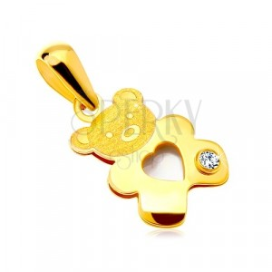 Přívěsek ve žlutém zlatě 585 - medvídek s perleťovým srdíčkem a čirým zirkonem