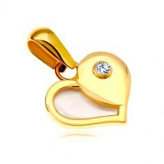 Zlatý 14K přívěsek - srdce s polovinou z bílé perleti a kulatým zirkonem GG18.10