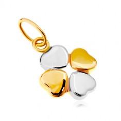 Přívěsek v kombinovaném 14K zlatě - dvoubarevný čtyřlístek pro štěstí GG18.17