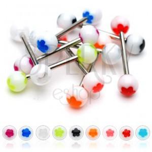 Piercing do jazyka bílá kulička - barevný kvítek