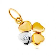 Přívěsek ve 14K zlatě - dvoubarevný čtyřlístek pro štěstí, čirý zirkon GG18.24
