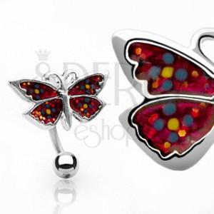 Piercing do pupíku motýl s kytičkami