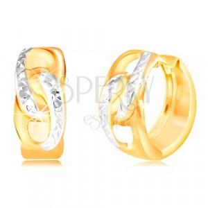 Zlaté kruhové náušnice 585 - dva propojené ovály, linie s drobnými zářezy
