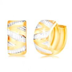 Náušnice ze 14K zlata - lesklý vypouklý povrch s cik-cak linií z bílého zlata GG217.48