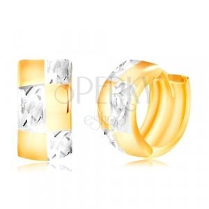 Zlaté kloubové náušnice 585 - dvoubarevný kroužek se vzorem šachovnice
