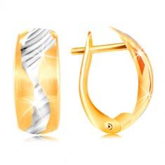 Náušnice ze 14K zlata - matný oblouk zdobený vlnkou z bílého zlata GG217.60