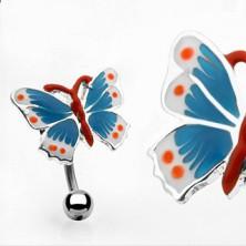Piercing do pupíku barevný motýl