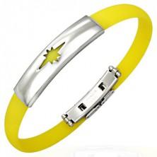 Gumový náramek, hvězda - žlutý