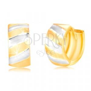 Kloubové náušnice ve 14K zlatě - kroužek s matnými dvoubarevnými pásy