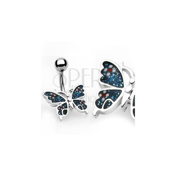 Piercing do pupku motýl, květy