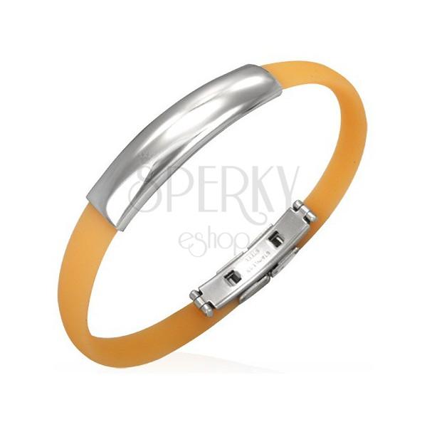 Plochý gumový náramek - oranžový