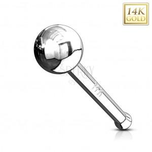 Rovný zlatý 14K piercing do nosu - lesklá hladká kulička, bílé zlato