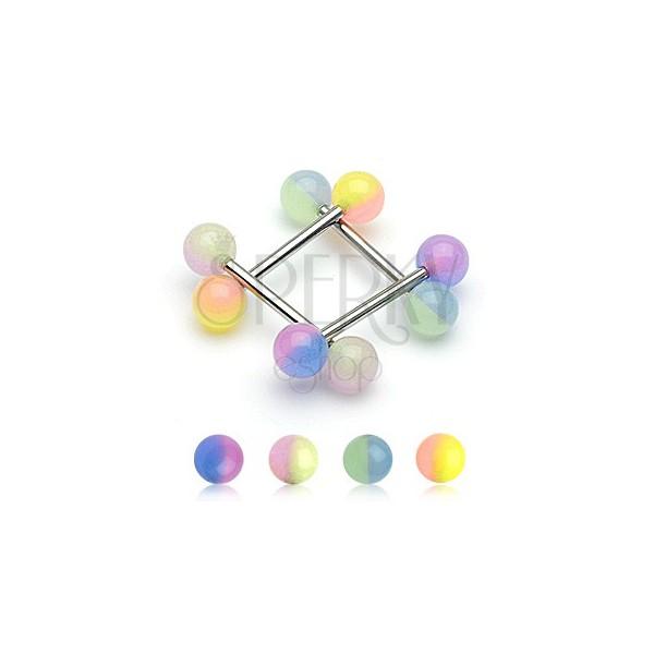 Piercing do jazyka dvoubarevná kulička