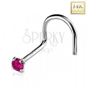 Zlatý 14K zahnutý piercing do nosu, kulatý tmavě růžový zirkon, 2 mm