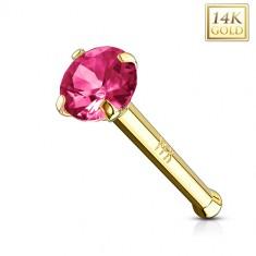 da819c4c9 Zlatý piercing do nosu 585 - rovný tvar, tmavě růžový zirkon, žluté zlato,