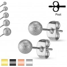 Puzetové náušnice, ocel 316L, pískované třpytivé kuličky, 5 mm