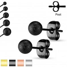 Puzetové náušnice, ocel 316L, pískované třpytivé kuličky, 7 mm