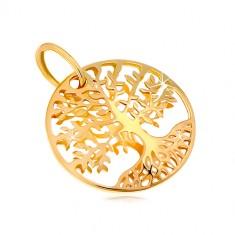 Přívěsek ze žlutého zlata 585 - kruh s vyřezávaným stromem života