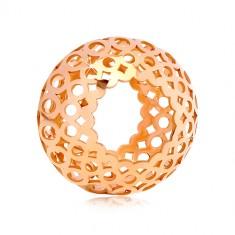 Přívěsek v růžovém 14K zlatě - dutý váleček s vyřezávanými ovály a kruhy