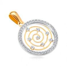 Zlatý 14K přívěsek - kroužek z bílého zlata a zirkonů, tenká spirála uprostřed