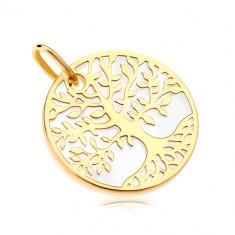 Přívěsek ve žlutém zlatě 585 - bílý perleťový kruh se stromem života
