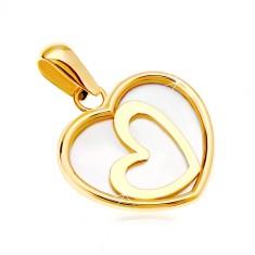 Přívěsek ze žlutého 14K zlata - srdce s perletí a šikmým obrysem uprostřed